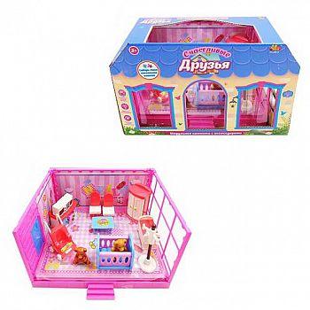 Игровой набор Abtoys Счастливые друзья Модульная комната Спальня с мебелью и фигурками животных, 13 предметов, в коробке