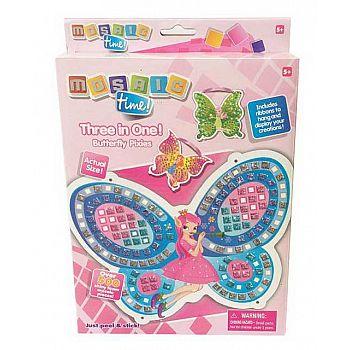Мозаика Бабочка 3в1, в наборе: крылья бабочки, 4 ленточки, более 500 деталей мозаики, 18х27х3см