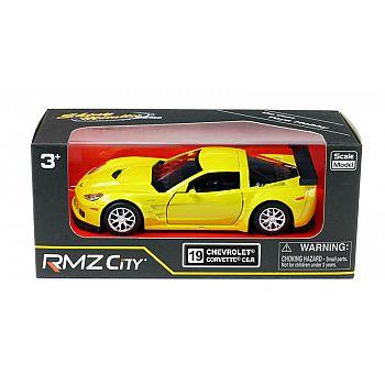 Машинка металлическая Uni-Fortune RMZ City 1:32 Chevrolet Corvette C6-R, инерционная, цвет желтый металлик