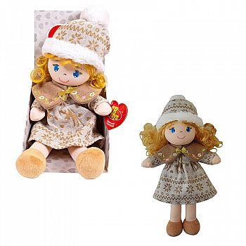 Кукла ABtoys Мягкое сердце, мягконабивная, в бежевой шапочке и фетровом платье, 36 см, в открытой коробке