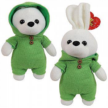Мягкая игрушка ABtoys. Зайка вязаный, 22 см. в зеленом костюмчике
