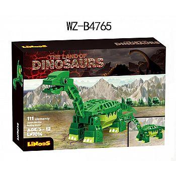 Конструктор Junfa Linoos Земля динозавров, брахиозавр зеленый , 111 детали.
