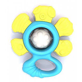 """Погремушка """"Цветочек"""" (в пакете с хэдером) жёлто-голубой 11,5х9,8х34 см"""