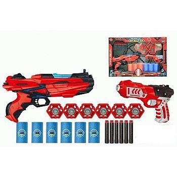 Набор игровой Бластеры красно-черные 2шт с аксессуарами и мягкими снарядами 40 шт
