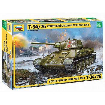 Сборная модель ZVEZDA Советский средний танк Т-34/76 1942 г. 1:35