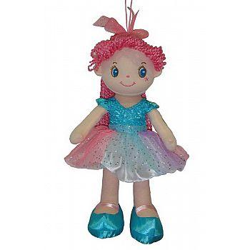 Кукла ABtoys Мягкое сердце, с розовыми волосами в голубой пачке, мягконабивная, 20 см