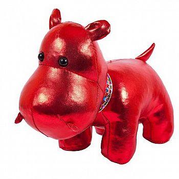 Металлик. Бегемот красный, 15 см. игрушка мягкая