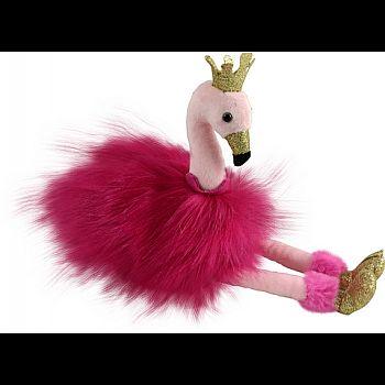 Фламинго розовый с золотыми лапками и клювом, 25 см игрушка мягкая