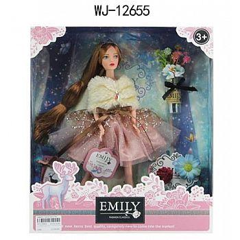 Кукла ABtoys Emily Розовая серия с букетом и аксессуарами, 30см