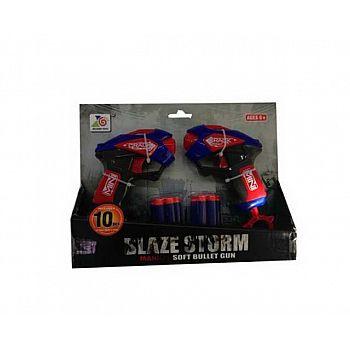 """Набор игровой Бластеры """"Blaze Storm""""2шт синие с 10 мягкими пулями, в открытой коробке"""