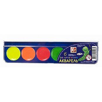 Акварель флоуресцентная 6 цветов без кисти
