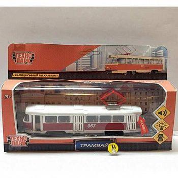 Машинка Технопарк Трамвай металлический 18см, свет+звук, инерционная, открываюся двери