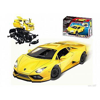 """Машинка-конструктор """"Собери сам. Гоночная машина"""", 58 деталей, цвет желтый, звуковые и световые эффекты."""