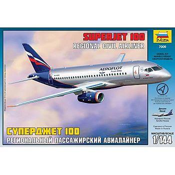 Сборная модель ZVEZDA Пассажирский авиалайнер Суперджет 100 1/144
