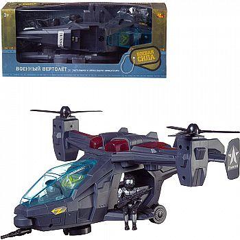Вертолет Abtoys Боевая Сила военный Ястребиный глаз, эл/мех, световые и звуковые эффекты