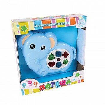 """Игрушка для малышей. Слоник развивающий музыкальный """"Потеша"""", со световыми и звуковыми эффектами"""