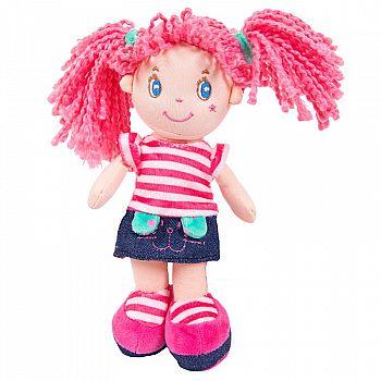 Кукла ABtoys Мягкое сердце, с розовыми волосами в джинсовой юбочке, мягконабивная, 20 см