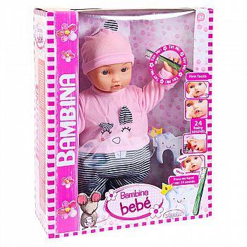 """Кукла DIMIAN Bambina Bebe Пупс """"Мой первый зуб"""", звуковые эффекты 46 см"""