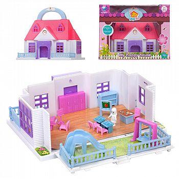 Дом кукольный складной, с мебелью и человечками