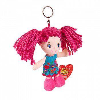Кукла ABtoys Мягкое сердце, с розовыми волосами в голубом платье, на брелке, мягконабивная, 15 см