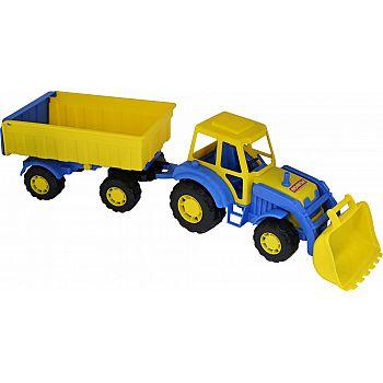 Трактор с прицепом №1 и ковшом Алтай 63х16,8х18 см.