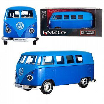 Машинка металлическая Uni-Fortune RMZ City 1:32 Автобус инерционный Volkswagen Type 2 (T1) Transporter, цвет матовый голубой с синим, 16,5*7,5*7 см