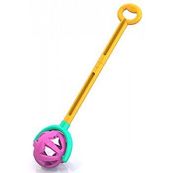 Игрушка-каталка НОРДПЛАСТ Шарик с ручкой (желто-фиолетовая) 59х15х12 см.