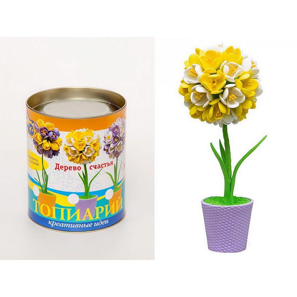 Топиарий Крокусы желтый/белый, 15 см