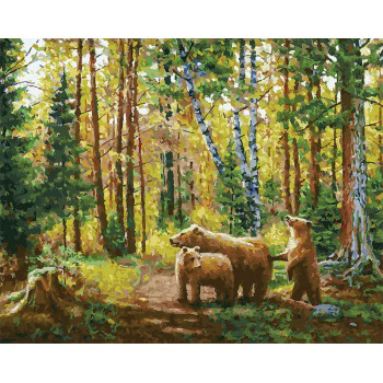 Набор для творчества Белоснежка картина по номерам на холсте Хранители леса 30 на 40 см