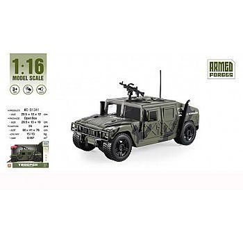 """Машинка 1:16 """"Военная"""", пластмассовая инерционная, со звуковыми и световыми эффектами. Индивидуальная упаковка 23.5x12x12 см"""