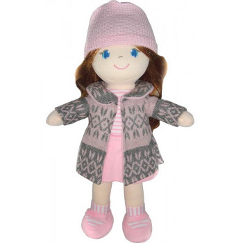Кукла ABtoys Мягкое сердце, рыжая в розовом пальто, мягконабивная, 36 см