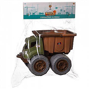 Машинка ABtoys Спецтехника Городские службы Самосвал со съемным кузовом, зелено-коричневый, 28,4х18,1х20,1см