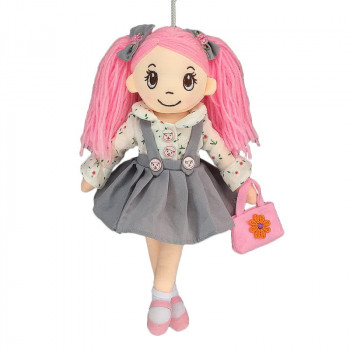 Кукла ABtoys Мягкое сердце, мягконабивная в сером сарафане и с сумочкой, 30 см