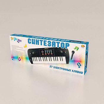 Синтезатор черный 37 клавиш,с микрофоном, эл/мех, с адаптером в комплекте, 53x6x19,2