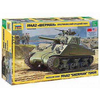 Сборная модель ZVEZDA Американский средний танк Шерман 1:35