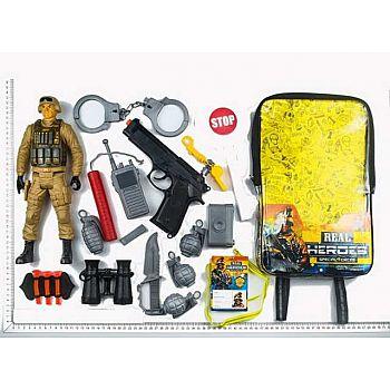 Игровой набор JUNFA военный в рюкзачке, 20 предметов