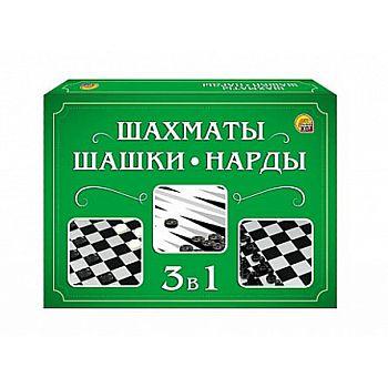 Настольная игра Рыжий кот Шахматы, шашки, нарды (мини-коробка)