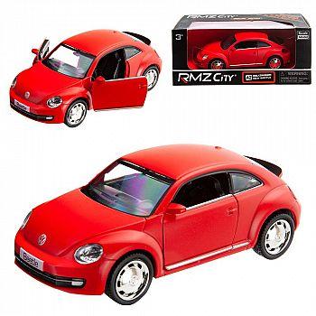 Машинка металлическая Uni-Fortune RMZ City 1:32 Volkswagen New Beetle 2012, инерционная, красный матовый цвет, 16.5 x 7.5 x 7 см