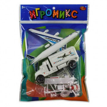 """Игровой набор ABtoys Игромикс """"Аэропорт"""",11 предметов в т.ч. самолёт с инерционным механизмом + машинка без механизма"""