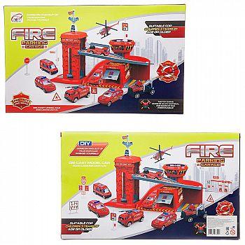 Парковка-трек Junfa Пожарная станция, с 2 машинками, лифтом, аксессуарами