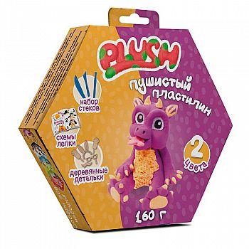 """Пластилин пушистый ТМ """"PLUSH"""", фиолетовый +оранжевый, 160 грамм, на европодвесе"""