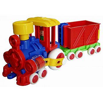 Паровозик Ромашка с вагоном Детский сад) 39 см.