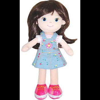 Кукла ABtoys Мягкое сердце, брюнетка в синем платье мягконабивная, 32 см