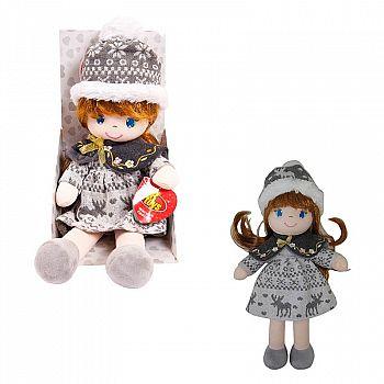 Кукла ABtoys Мягкое сердце, мягконабивная, в серой шапочке и фетровом платье, 36 см, в открытой коробке