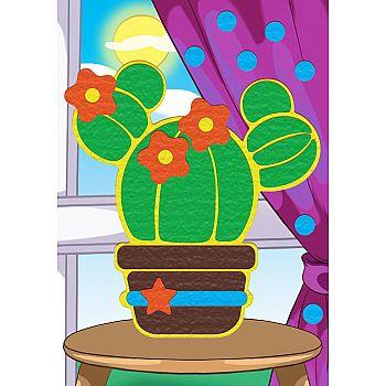 Набор для творчества Рыжий кот Алмазная мозаика КАКТУС С ЦВЕТОЧКАМИ, с подрамником с полным заполнением 10*15см