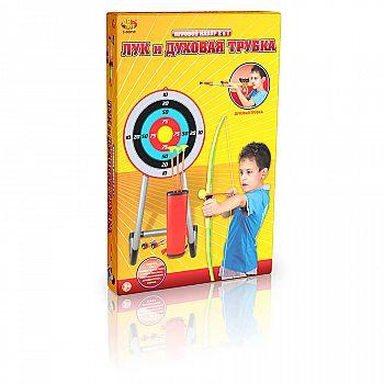 Игровой набор ABtoys Лук со стрелами на присосках и духовая трубка в наборе, 3 стрелы, 4 снаряда, мишень и колчан