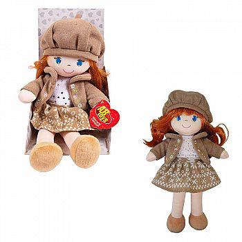 Кукла ABtoys Мягкое сердце, мягконабивная, в коричневом беретте и фетровом костюме, 36 см, в открытой коробке