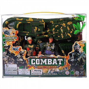 Набор игровой военный Junfa Солдатики, военная техника, акссесуары, в прозрачной коробке