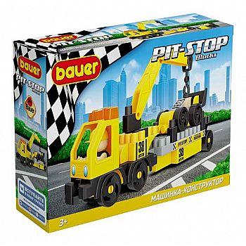 Конструктор Bauer Pit Stop с эвакуатором и гоночной машиной, черно-желтая