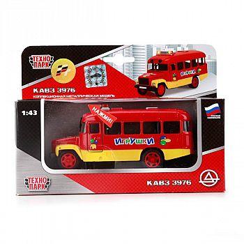 Машинка Технопарк Автобус КАВЗ 3976 металлический, инерционный, открываются двери, капот, свет, звук